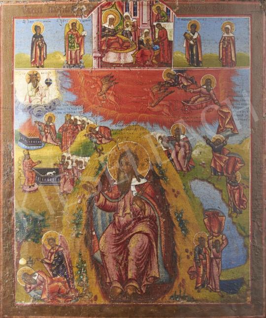 Eladó  Ismeretlen ikonfestő, 19. század - Illés próféta, ikon, 19. század festménye