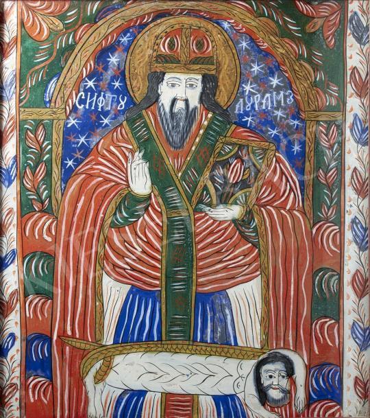 Eladó  Erdélyi ikonfestő, 19. század - Haralambosz, Fogarasi üveg ikon, 19. század festménye