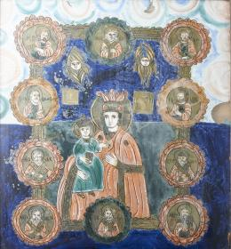 Erdélyi ikonfestő, 19. század - Anya gyermekével, Fogarasi üveg ikon, 19. század