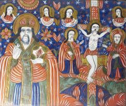 Erdélyi ikonfestő, 19. század - Krisztus a kereszten, Haralambosz, Fogarasi üveg ikon, 19. század