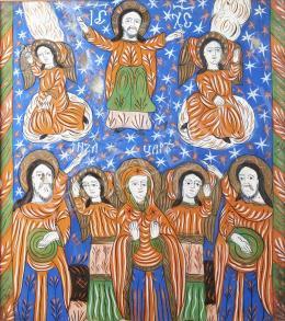 Erdélyi ikonfestő, 19. század - Biblia, Fogarasi üveg ikon, 19. század