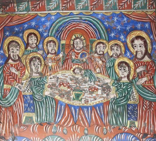 Eladó  Erdélyi ikonfestő, 19. század - Az utolsó vacsora, Fogarasi üveg ikon, 19. század festménye