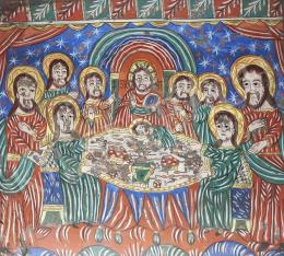 Erdélyi ikonfestő, 19. század - Az utolsó vacsora, Fogarasi üveg ikon, 19. század