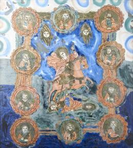 Erdélyi ikonfestő, 19. század - Szent Loras, Fogarasi üveg ikon, 19. század