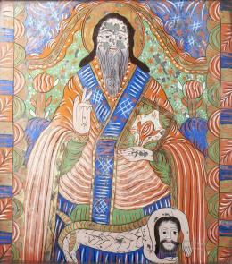 Erdélyi ikonfestő, 19. század - Szent Haralambosz, Fogarasi üveg ikon, 19. század