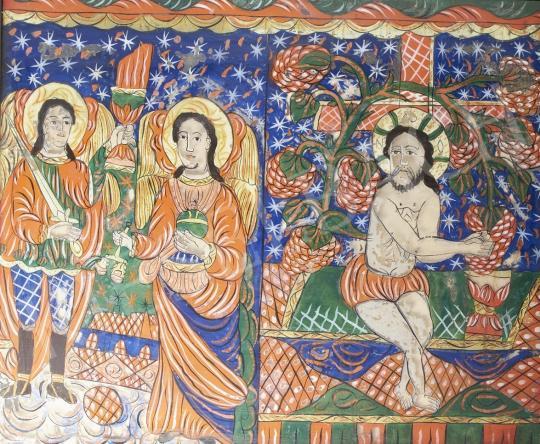 Eladó  Erdélyi ikonfestő, 19. század - Fogarasi osztott üveg ikon Gábor és Mihály arkangyal, Szőlőtaposó, 19. század festménye