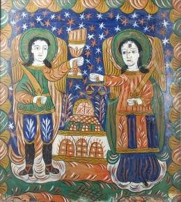 Transylvanian Ikonpainter, 19th Century - Glass Ikon in Fogaras Style with Konstantin and Helen, 19th Century