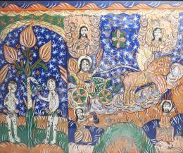 Erdélyi ikonfestő, 19. század - Ádám és Éva, Illés szekere, Fogarasi osztott üveg ikon, 19. század