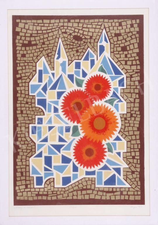 Eladó Hegyi György - Virág és város, 1987 festménye