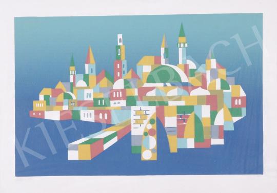 Eladó Hegyi György - Város, 1990 festménye