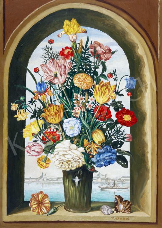 Eladó  Zalubel István - Virágos csendélet festménye