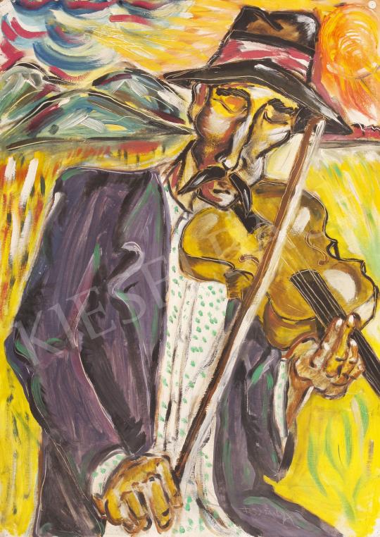 Eladó  Fülöp Péter - Hegedülő cigány festménye