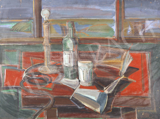 For sale Baticz, Levente - Still Life with a Bottle of Wine and Books 's painting