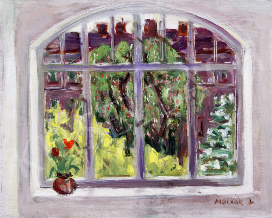 For sale  Unknown painter with a sign of Molnár L. - Fruit Tree from the Window 's painting