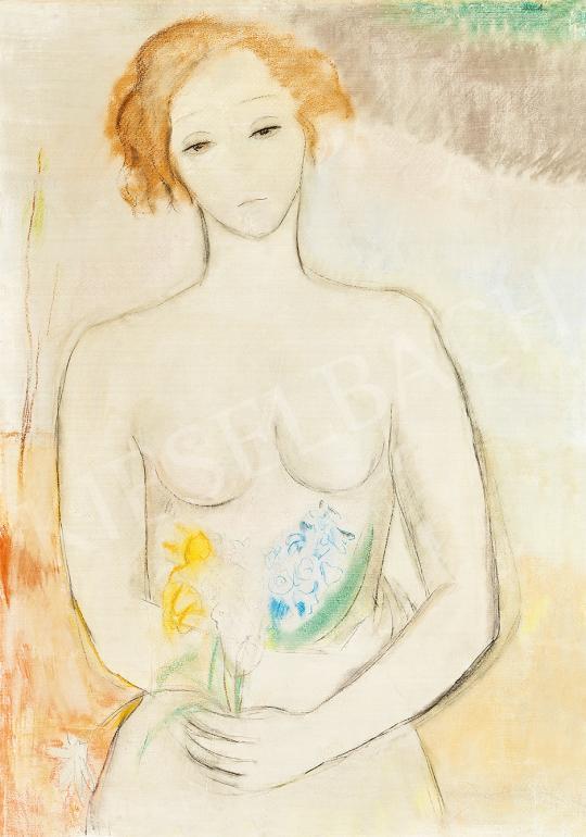 Eladó Molnár Róza - Fiatal lány tavaszi virágokkal, 1930-as évek festménye