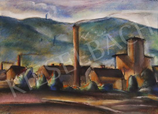 Eladó  Csabai-Ékes Lajos - Városkép füstölgő kéménnyel festménye