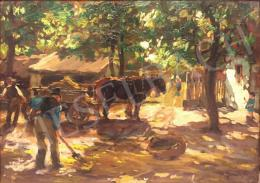 Gaál, Ferenc - Courtyard with Horse-Drawn Carriage, 1923
