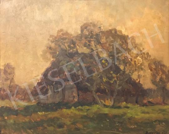 Eladó  Bosznay István - Táj házikóval, 1922 festménye