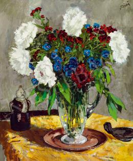 Biai-Föglein, István - Studio Still-Life with Red, White, Blue Flowers