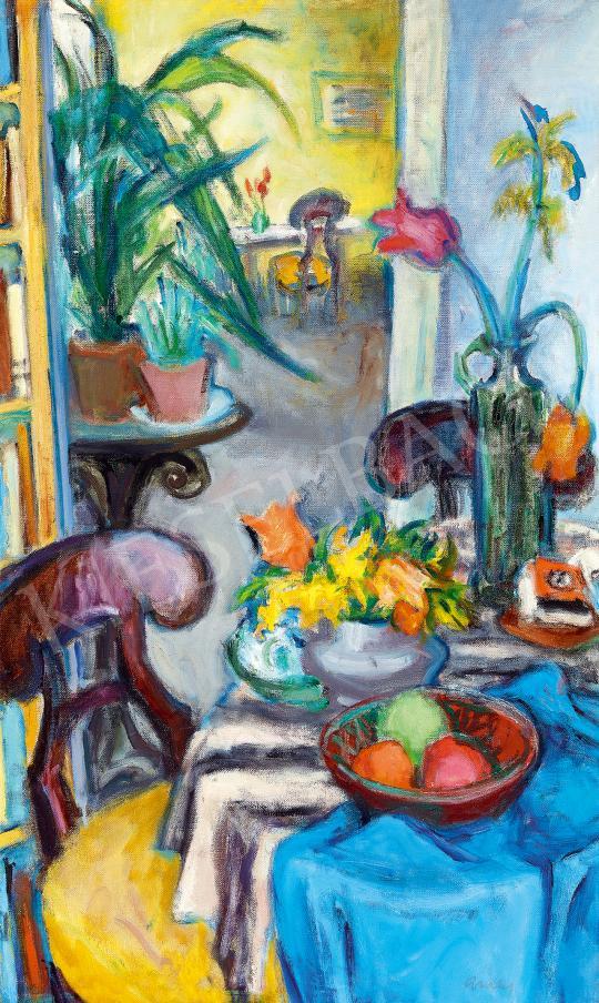 Eladó Gráber Margit - Szoba virágokkal és Biedermeier bútorokkal festménye