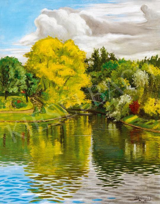 Szőnyi István - Városligeti tó (Tükröződés), 1911 festménye