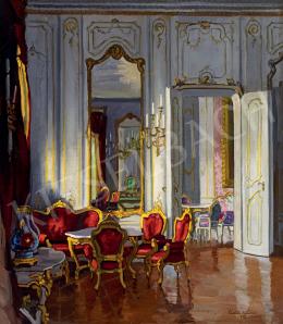 Pádua Kálmán - A Teázó-terem részlete a Budavári Királyi Palotában, 1932