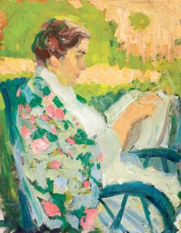Egry József - Napfényes kertben olvasó nő, 1907 körül