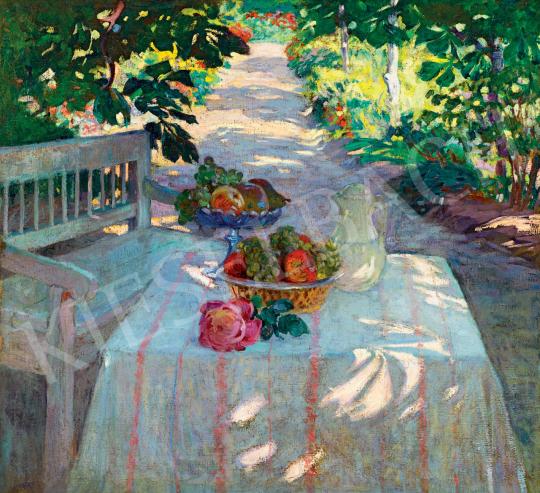 Ismeretlen magyar festő, 1900-as évek eleje - Napfényes villa kertje uzsonnával | 55. Tavaszi Aukció aukció / 24 tétel