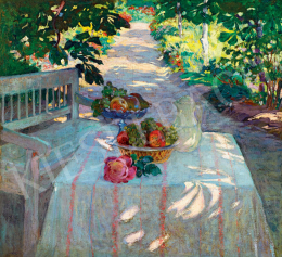 Unknown Hungarian painter, early 1900s - Sunlit Villa Garden with Afternoon Tea