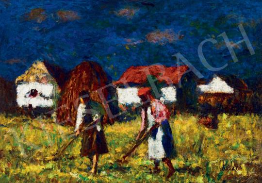 Koszta József - Alföldi táj napsütötte házakkal, szénaszedőkkel, 1930-as évek | 55. Tavaszi Aukció aukció / 31 tétel