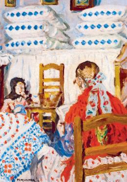 Perlmutter Izsák - Napfényes szobában olvasó kislány, 1923
