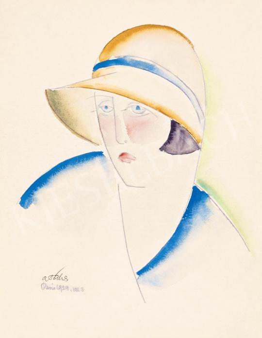 A. Tóth Sándor - Art deco nő kalapban, 1929 | 55. Tavaszi Aukció aukció / 34 tétel