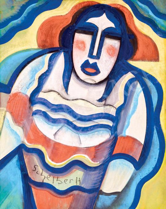 Scheiber Hugó - Art deco nő csíkos ruhában (Kokott), 1930 körül | 55. Tavaszi Aukció aukció / 39 tétel