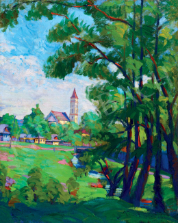Kádár, Géza - Sunlit Nagybánya Landscape