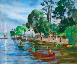 Bató, József - Bathers, Lake Balaton, Sailing Boats, 1929