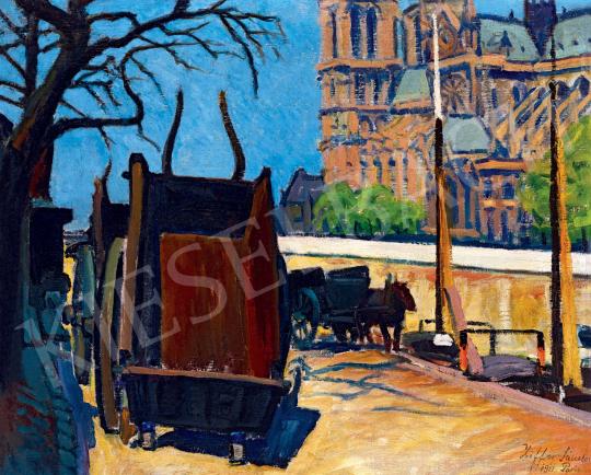 Ziffer Sándor - Lovaskocsik a Szajna-parton (Port de Montebello háttérben a Notre Dame-mal), 1911 | 55. Tavaszi Aukció aukció / 54 tétel