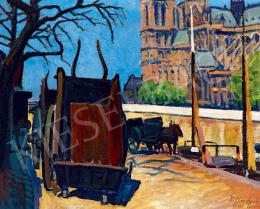 Ziffer Sándor - Lovaskocsik a Szajna-parton (Port de Montebello háttérben a Notre Dame-mal), 1911