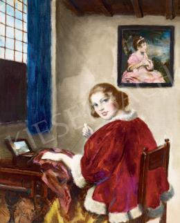 Csók István - Ablaknál ülő lány (Hommage á Vermeer)