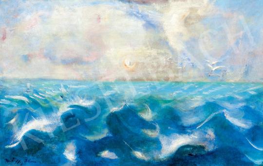 Márffy Ödön - Kilátás a vitorlásról (Hullámok, fények, sirályok) | 55. Tavaszi Aukció aukció / 74 tétel