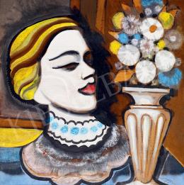 Scheiber Hugó - Szőke lány virággal, 1930-as évek