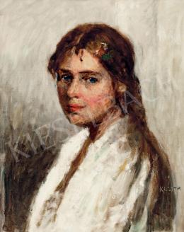 Koszta József - Kék szemű kislány hajában virággal