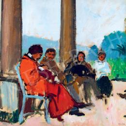 Pólya Tibor - Művészek a kastély előtt, 1910 körül