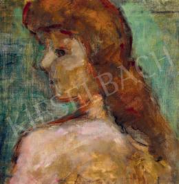 Czóbel Béla - Vörös hajú lány zöld drapéria előtt
