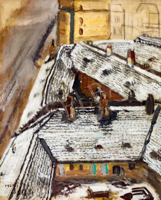 Csók, István - Snowy Roofs (View from the Studio), 1910 | 55th Spring Auction auction / 134 Item