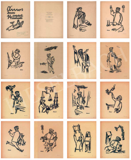 Ámos, Imre - Jewish Feats, 1940, (14 Original Linocuts by Imre Amos)