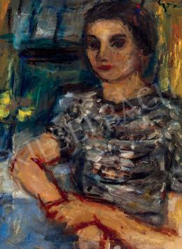 Czóbel Béla - Fiatal nő műteremben (Nárciszok)
