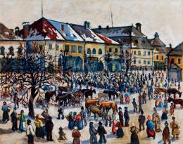 Husovszky János - Nagyvárad főtere (Vásár télen)