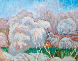 Iványi Grünwald Béla - A zöld kerítés (Téli táj), 1910 körül