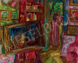 Frank Frigyes - Műteremi hangulat festőállvánnyal, képekkel, Mimivel, 1938