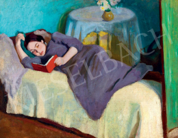 Berény Róbert - Olvasó lány pamlagon (Olvasó nő), 1906 körül